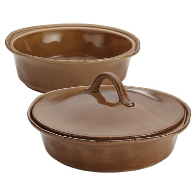 Rachael Ray Cucina Stoneware Set of 2 Round Casserole with Shared Lid - Brown (1.5 qt and 2qt)