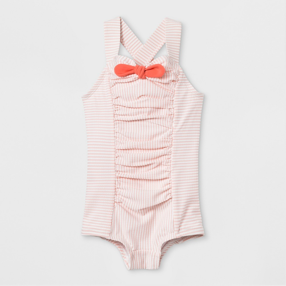 Baby Girls' Retro Shorted One Piece Swimsuit - Cat & Jack Light Pink 12M