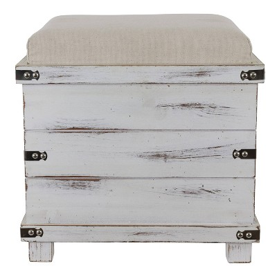 Hadley Weathered Storage Ottoman - Décor Therapy
