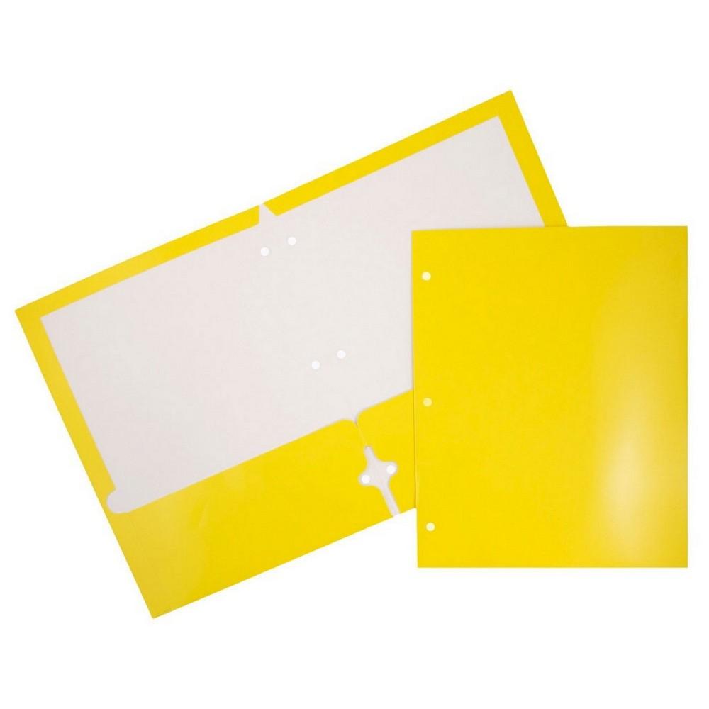 Jam Paper, Glossy 3 Hole Punch Folders, 6pk - Yellow