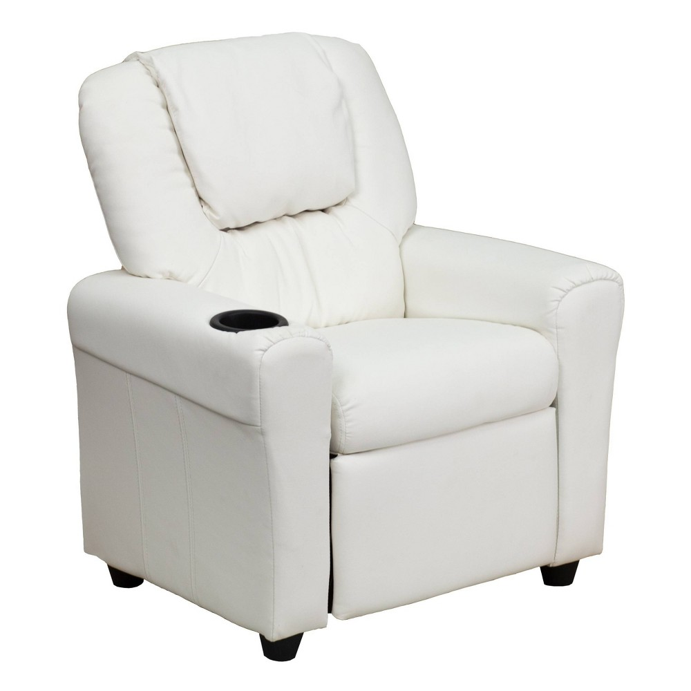 Contemporary Kids Recliner with Cup Holder and Headrest Vinyl White - Riverstone Furniture