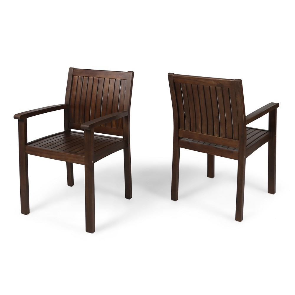 Image of Wilson 2pk Acacia Dining Chair - Dark Brown - Christopher Knight Home