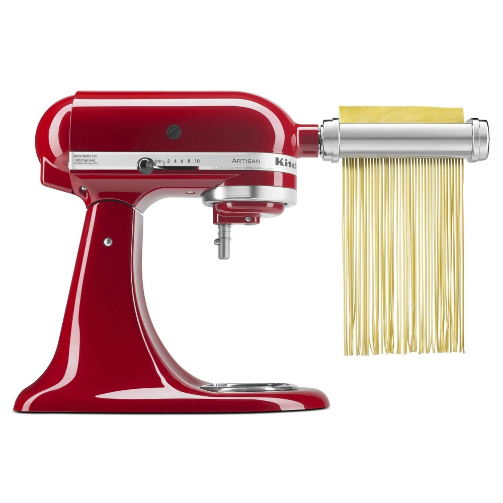 No longer settle for pre-packaged pasta when making it fresh is easy and tastes so much better. Powered by the KitchenAid Stand Mixer, the 3pc Pasta Roller and Cutter Set makes authentic, fresh pasta from scratch quickly and easily. Includes Pasta Roller, Spaghetti Cutter and Fettuccine Cutter. Made in Italy. Pasta Roller and Cutter Set comes with a one year limited replacement warranty. Gender: unisex.