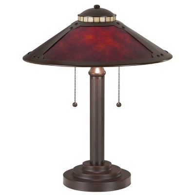 "Robert Louis Tiffany Mission Desk Table Lamp 18 1/2"" High Art Deco Oil Rubbed Bronze Natural Mica Shade for Bedroom Bedside Office"