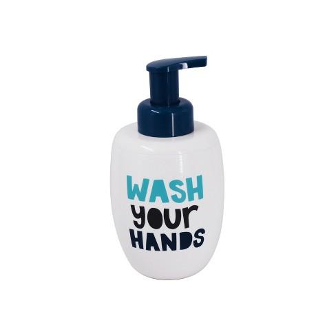 Wash Your Hands Foaming Soap Dispenser White Navy Pillowfort