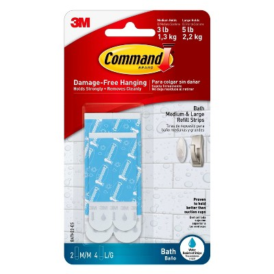 Water-Resistant Bath Replacement Strips Faux Leather Wall Hook Blue - Command