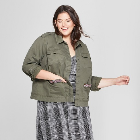 1812a381c8d73 Women s Plus Size Military Jacket with Pocket Beading - A New Day™ Olive