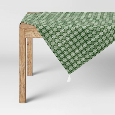 "50"" Distressed Medallion Table Throw Green - Threshold™"