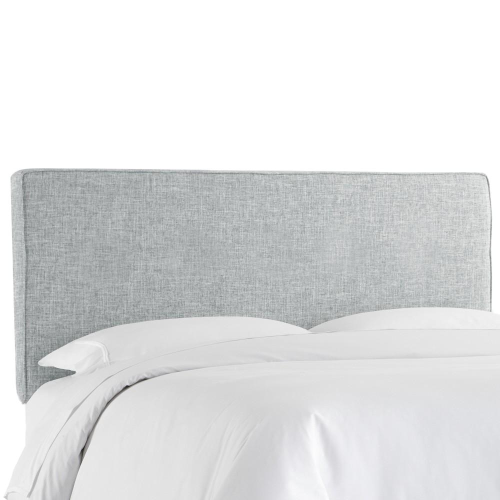 Full Harper Box Seam Headboard Pumice Gray Linen Skyline Furniture
