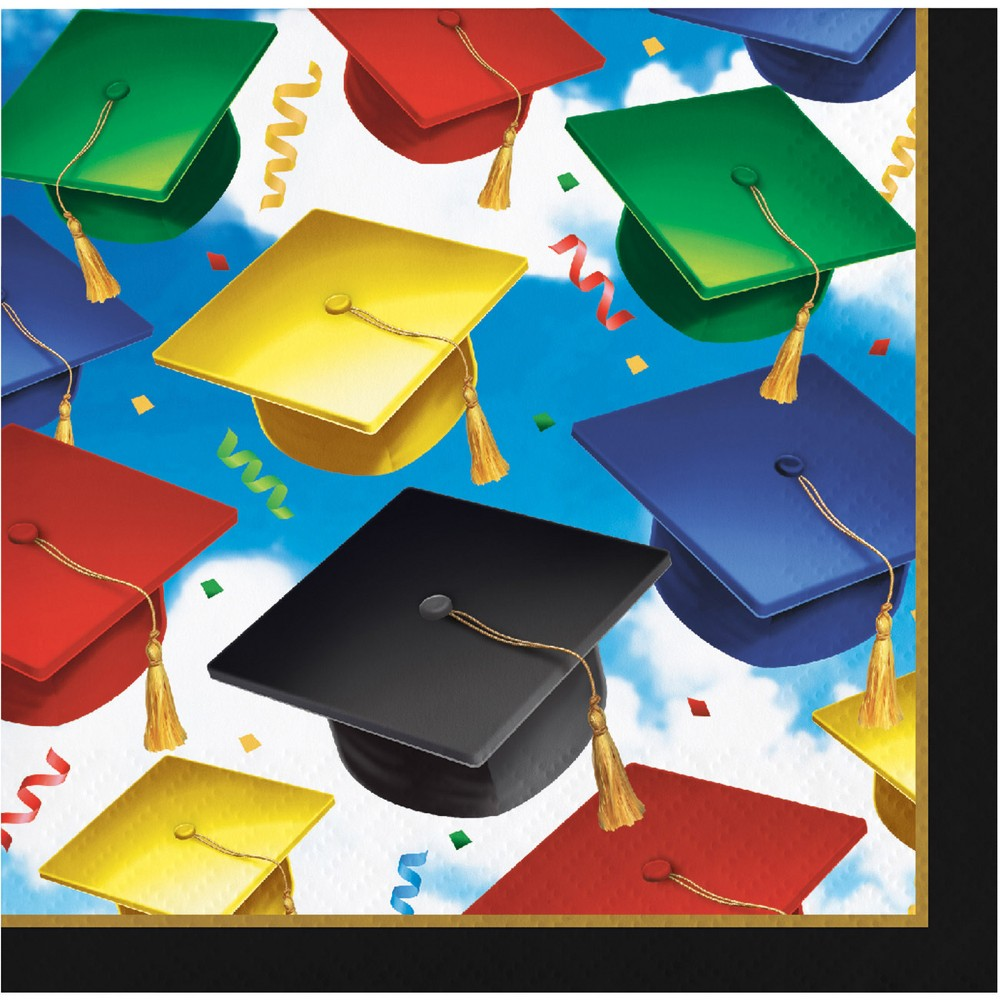 Image of 100ct Graduation Celebration Beverage Napkins, Multi-Colored