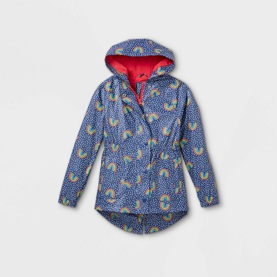 Girls' Rainbow Print Rain Jacket - Cat & Jack™ Navy