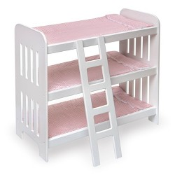 Badger Basket Triple Doll Bunk Bed with Ladder, Bedding, and Free Personalization Kit - Pink Gingham