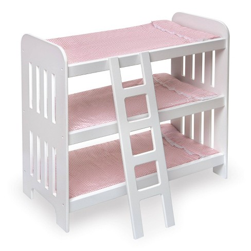 Badger Basket Triple Doll Bunk Bed with Ladder, Bedding, and Free Personalization Kit - Pink Gingham - image 1 of 4
