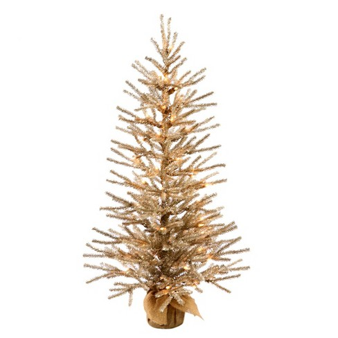 3ft Pre-Lit Mocha Artificial Christmas Tree in Burlap Base with Clear Lights - image 1 of 1