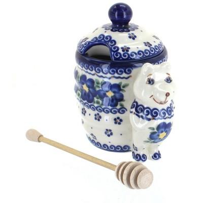 Blue Rose Polish Pottery Spring Blossom Honey Pot