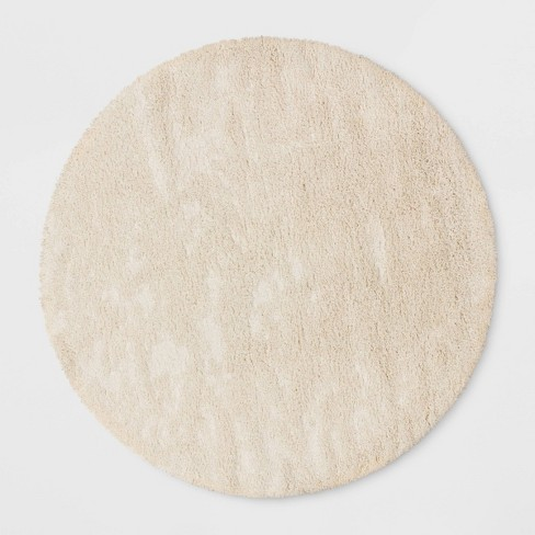 8 Round Eyelash Rug Cream, Round Cream Rug