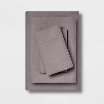 Queen Easy Care Solid Sheet Set Gray - Room Essentials™