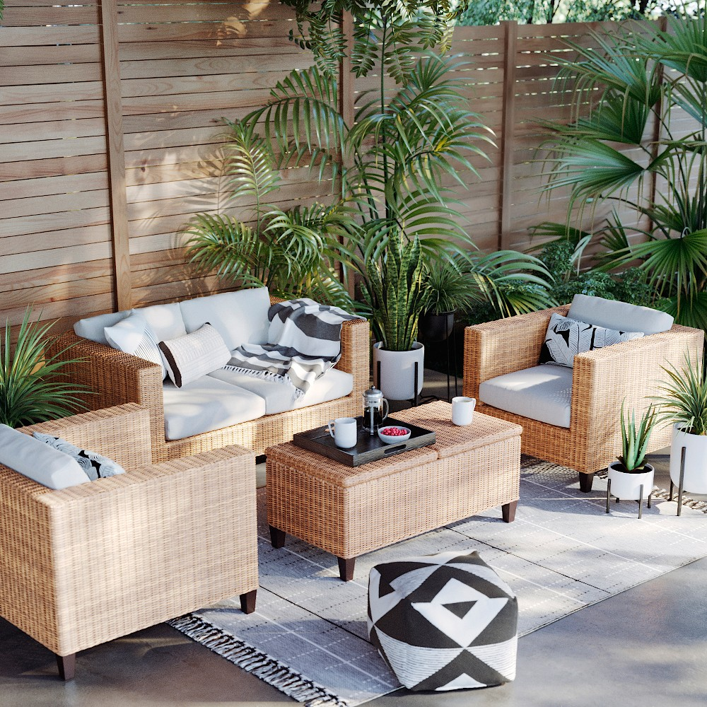 Fullerton 4pc Patio Conversation Set - Linen - Project 62