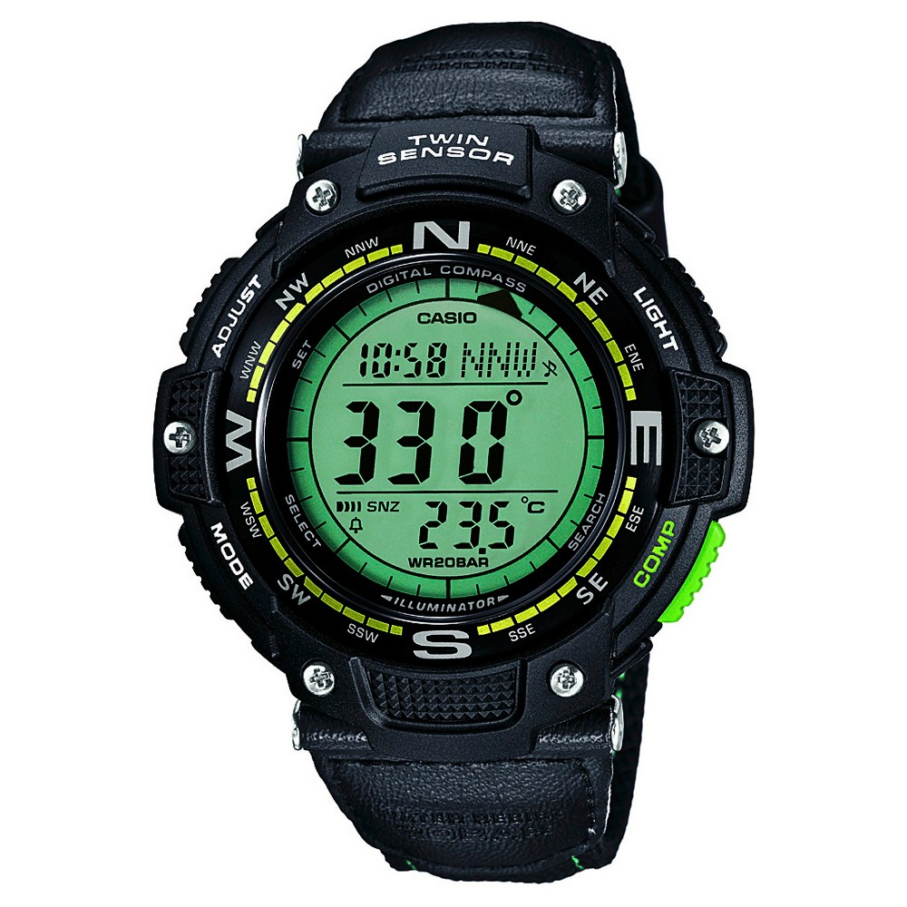 Casio Men's Twin Sensor Compass Watch with Nylon Strap - Green, Black