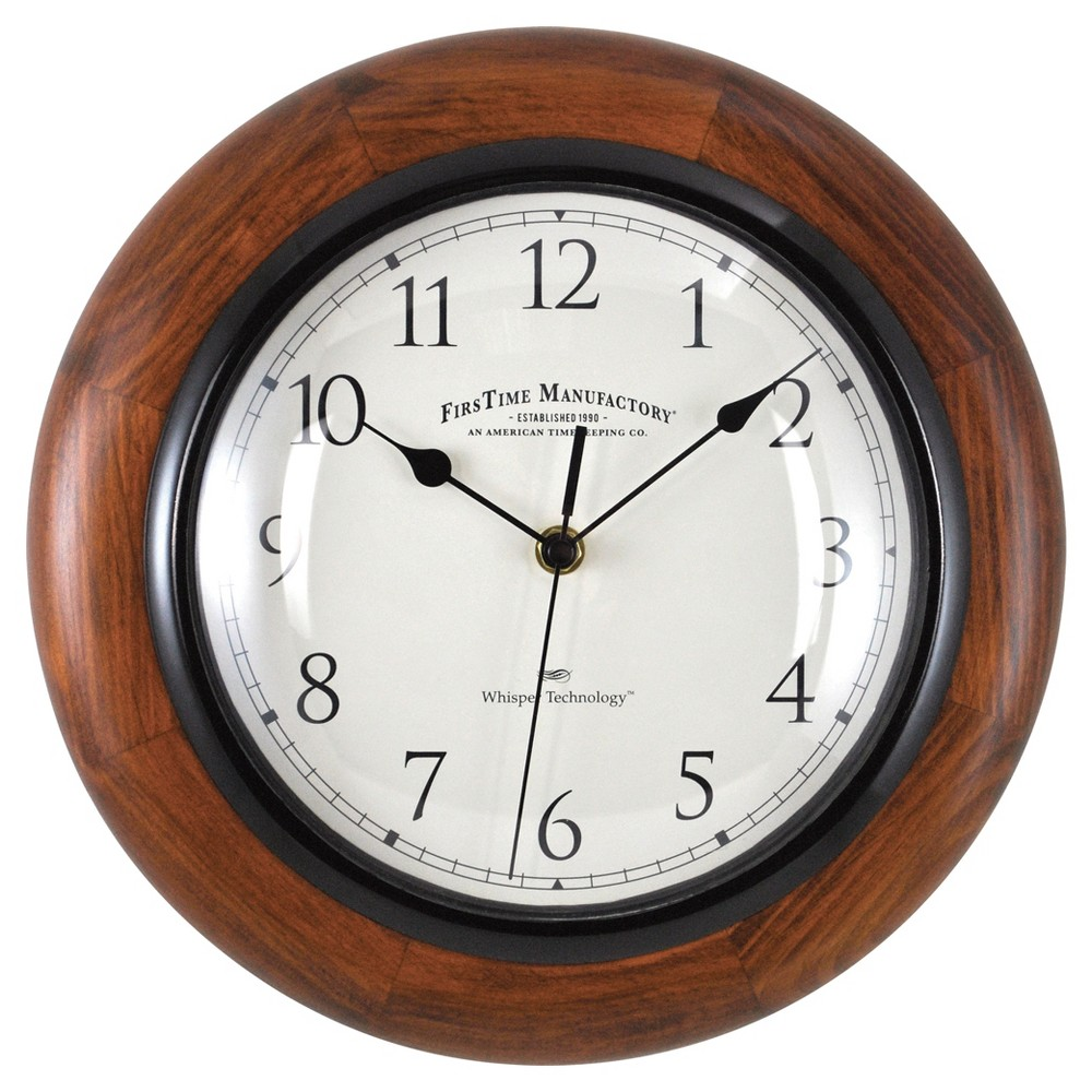 Image of 11 Casual Round Wall Clock Walnut Finish - FirsTime