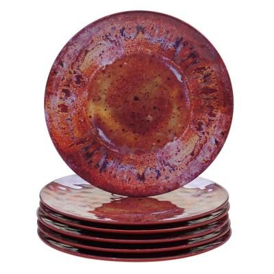 10.5  6pk Radiance Red Melamine Dinner Plates - Certified International
