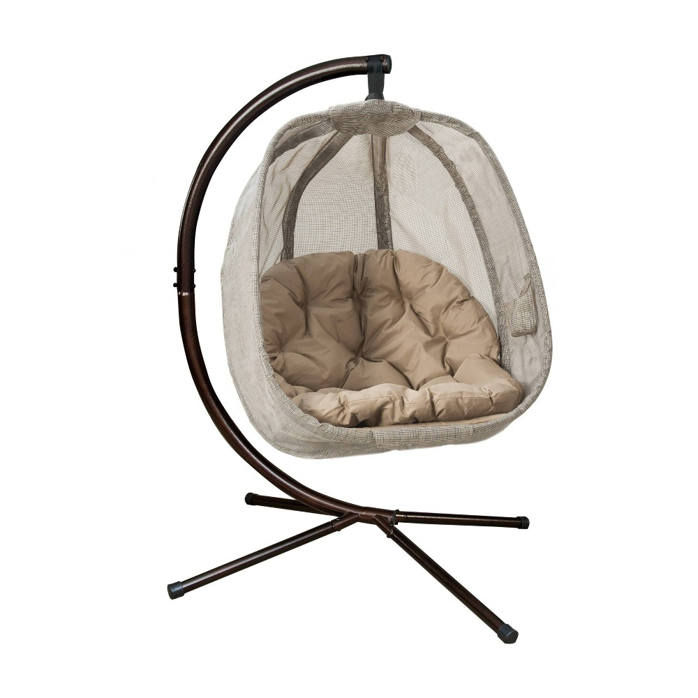 Image of Hanging Egg Chair with Stand - Bark - FlowerHouse, Brown