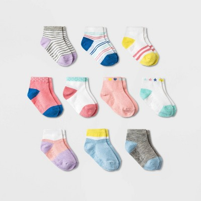 Baby Girls' 10pk Ankle Socks - Cat & Jack™ Pink 6-12M