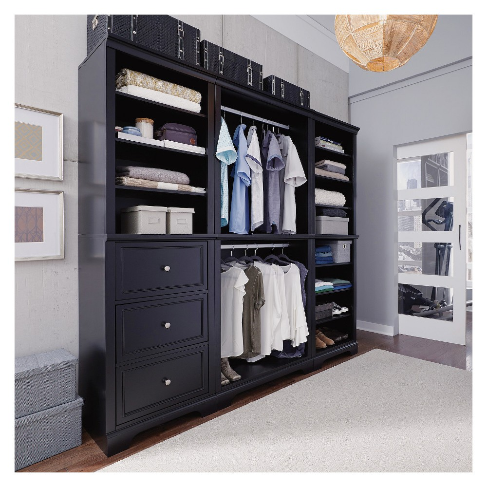 Image of 3pc Bedford Closet Organizer Satin Black - Home Styles