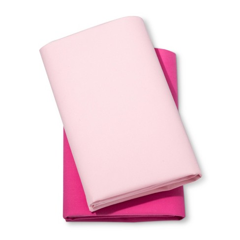 Fitted Playard Sheets Pink 2pk - Cloud Island™ Pink/Dark Pink - image 1 of 2