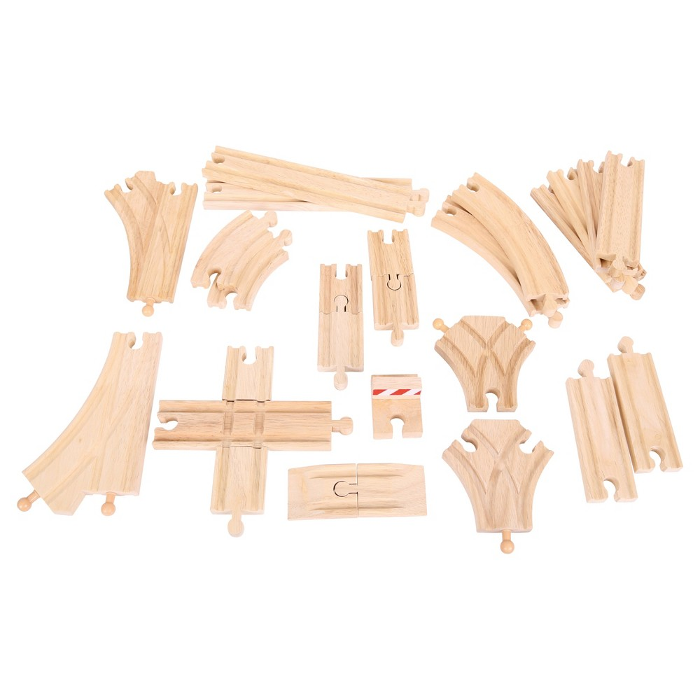 Bigjigs Rail Low Level Track Expansion Pack Wooden Railway Train Track