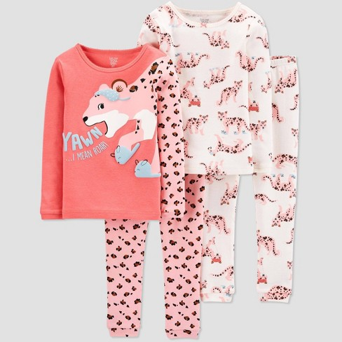 Baby Girls' 4pc Cheetah Pajama Set - Just One You® made by carter's Pink 9M - image 1 of 1