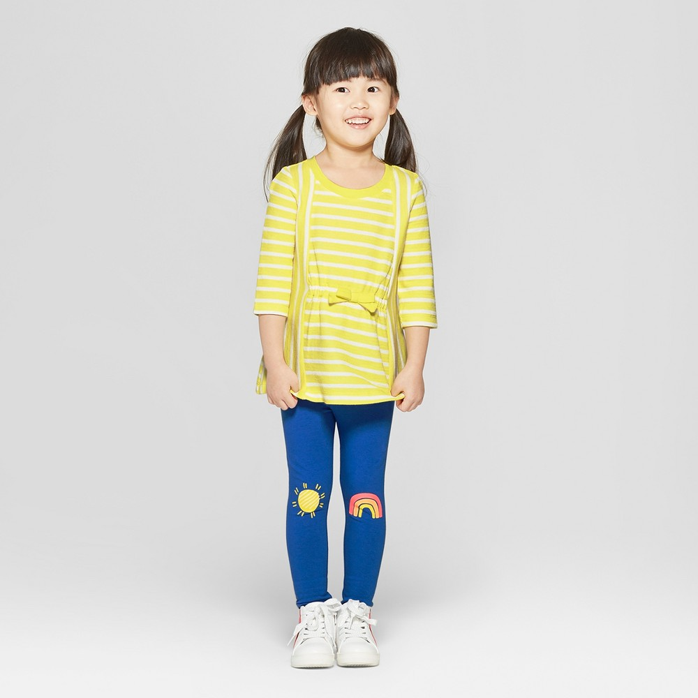 Toddler Girls' 3/4 Sleeve Stripped Top and Bottom Set - Cat & Jack Yellow/Blue 12M