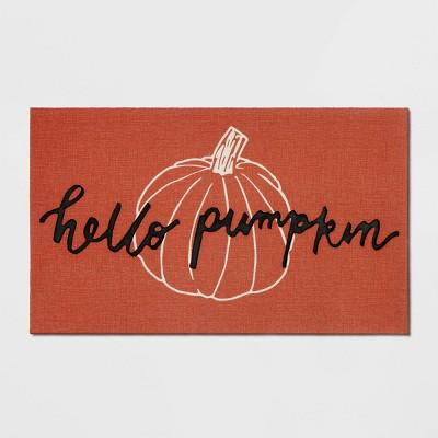 "18""X30"" Hello Pumpkin Rubber Doormat Orange - Threshold™"