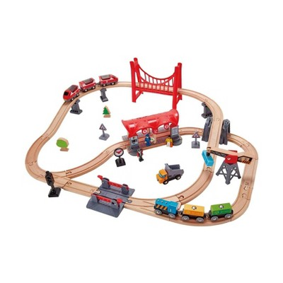 Hape Busy City Themed Magnetic Kids Toddler Play Freight Train Railway Station Toy Set with Passenger Train, Fright Train, and Station