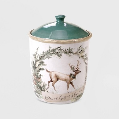 96oz Porcelain Holly and Ivy Cookie Jar White - Certified International