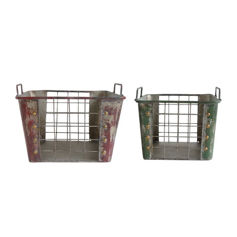 Metal Baskets with Handles - Set of 2 - 3R Studios - image 1 of 2