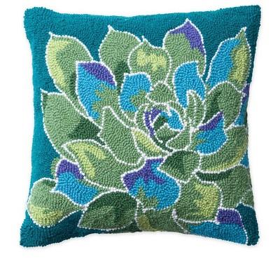 VivaTerra Succulent Hand-hooked Wool Pillow, Green