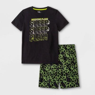 Boys' 2pc 'Sleep Sleep Play' Short Sleeve Pajama Set - Cat & Jack™ Black
