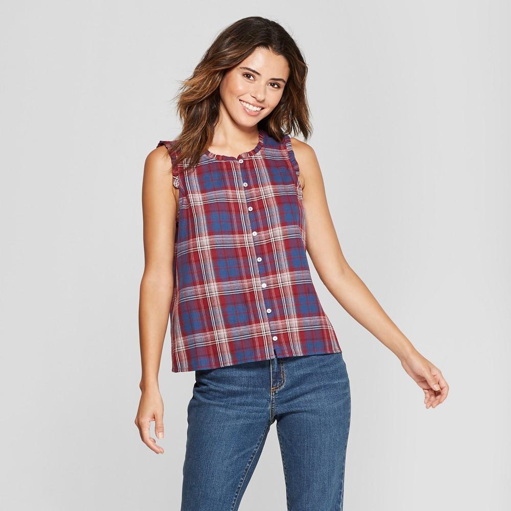 Women's Short Sleeve Plaid Button Front Blouse - Universal Thread Navy M, Blue