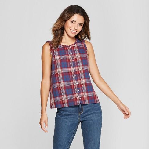 a4c3ec831bc Women s Short Sleeve Plaid Button Front Blouse - Universal Thread™ Navy