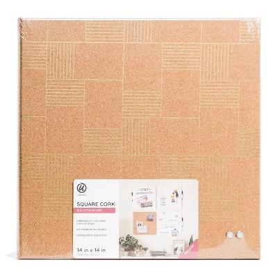 """U-Brands 14"""" Square Cork Bulletin Board - Printed Geo"""