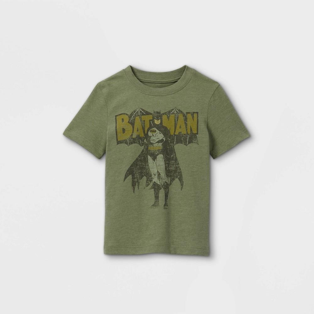 Toddler Boys 39 Batman Vintage Short Sleeve Graphic T Shirt Olive Green 4t