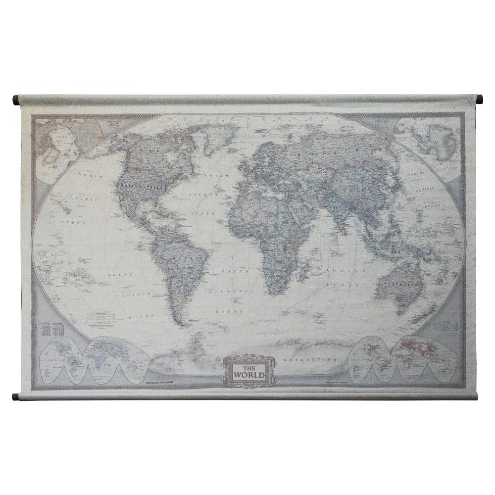 "The World Wall Art Taupe(53""x80"") - VIP Home & Garden"