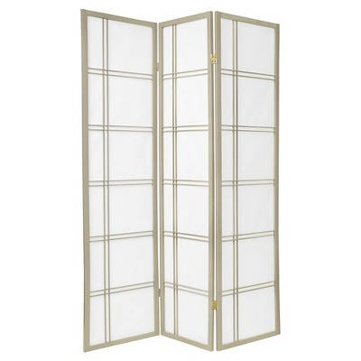 6 ft. Tall Double Cross Shoji Screen - Special Edition - Gray (3 Panels)