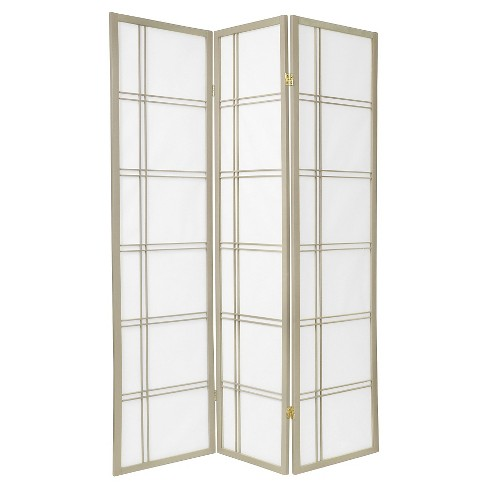 6 ft. Tall Double Cross Shoji Screen - Special Edition - Gray (3 Panels) - image 1 of 1