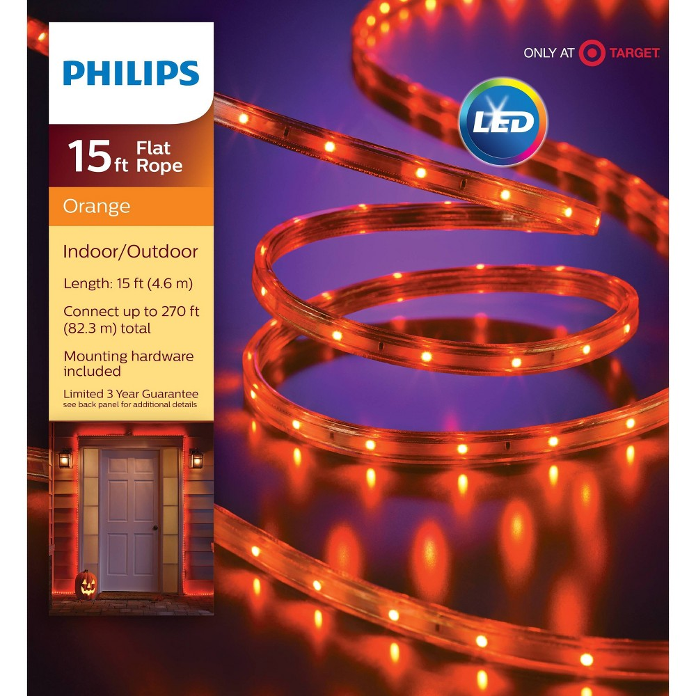 Image of Halloween Philips 135ct LED Halloween Flat Rope Lights Orange