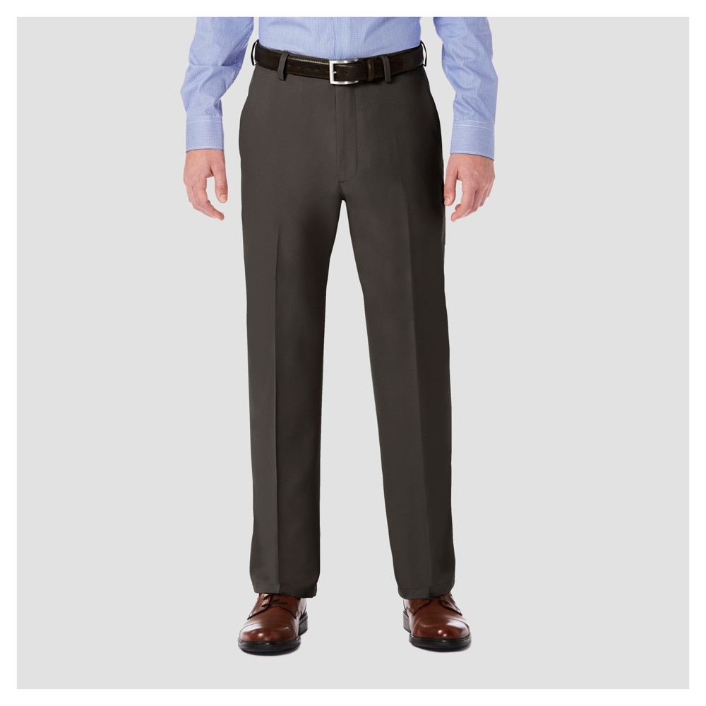 Image of Haggar H26 Men's Big & Tall Performance 4 Way Stretch Classic Fit Trouser Pants - Charcoal Heather 44x30, Grey Grey
