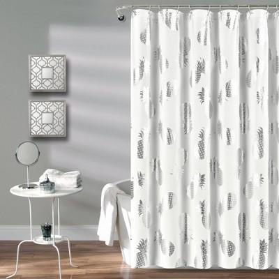 Pineapple Toss Shower Curtain Single Silver - Lush Décor