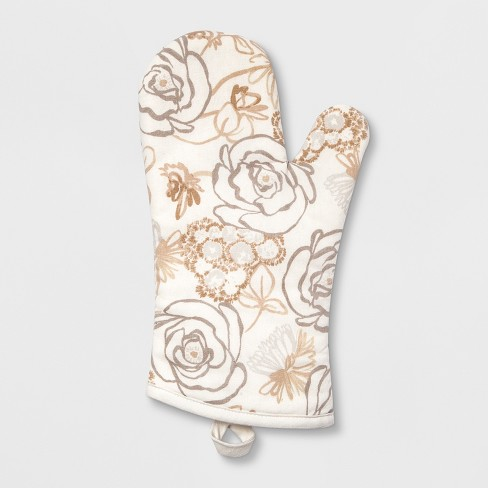 Floral Print Oven Mitt White/Taupe - Threshold™ - image 1 of 1