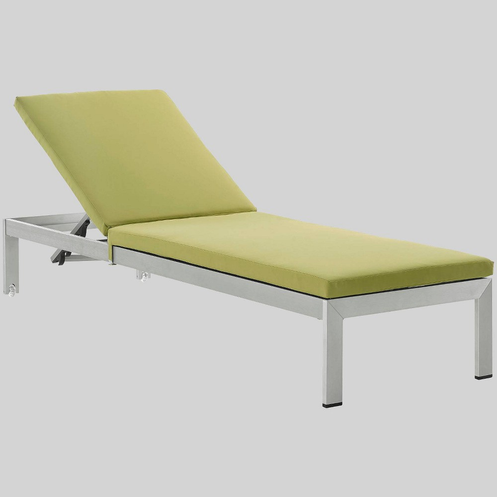 Shore Aluminum Outdoor Patio Chaise Lounge with Cushions - Peridot - Modway